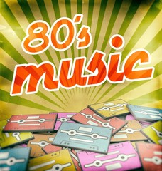 80s music vintage poster design. Retro concept