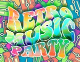 Retro music party concept Vintage poster design