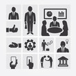 Business icons management and human resources. Flat design conce