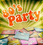 80s music party vintage poster design Retro poster