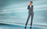 Business woman full length portrait on technological background