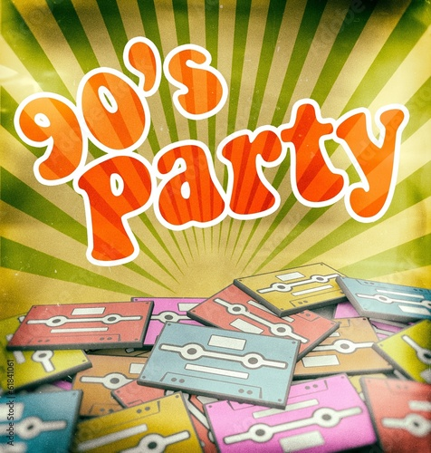 90s music party vintage poster design. Retro concept