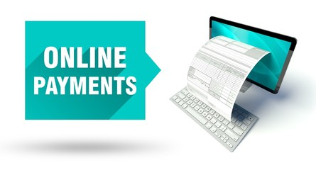 Online payments computer with online tax form or invoice