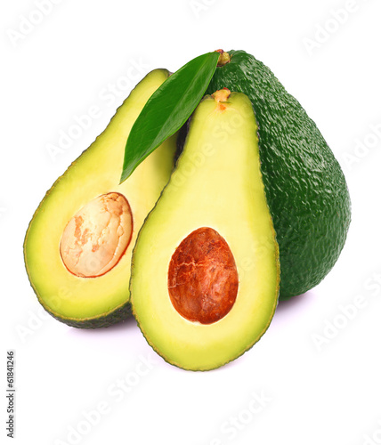 Ripe avocado isolated