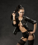 sexy woman in sensual stockings, erotic black leather jacket