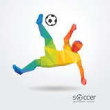 soccer football kick striker player geometric colour design vect