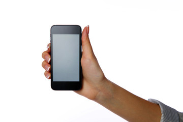 Closeup portrait of a female hand holding smartphone
