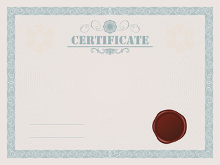 Certificate blank vector template with wax seal.