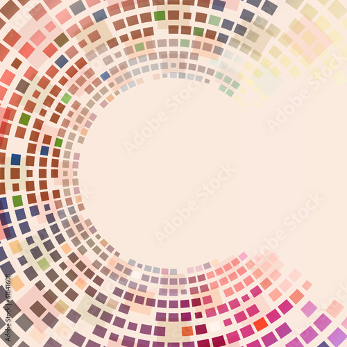 Circular colorful squares vector background