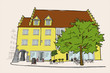 urban sketch of an old building in Lindau, Germany