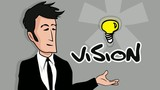 Cartoon business teamwork vision marketing skills success