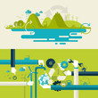 Set of flat design concepts for green technology