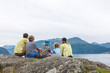 Family enjoying fjord view