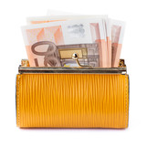 Opened leather purse with some euro banknotes