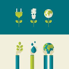 Set of flat design vector illustration concepts on ecology theme