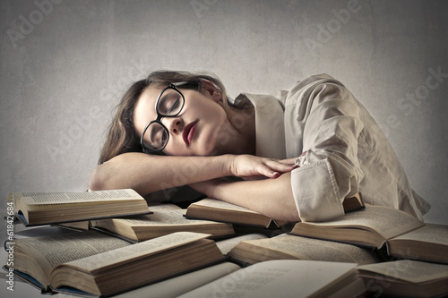 sleeping on books