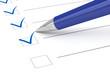 Leinwanddruck Bild - Checklist paper and pen.