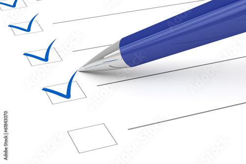 Leinwanddruck Bild Checklist paper and pen.