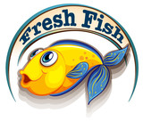 A fresh fish label with a fish