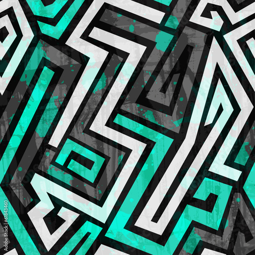 Spoed canvasdoek 2cm dik Kunstmatig urban blue maze seamless pattern with grunge effect