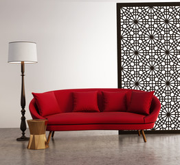 Red contemporary fresh interior with moroccan pattern