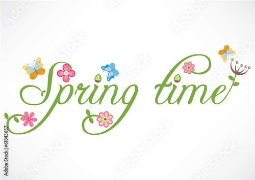 Spring time words illustration