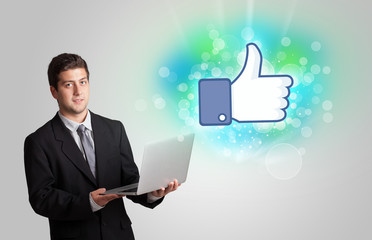 Young teenager with like social media illustration