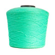 reel with turquoise yarn on white background