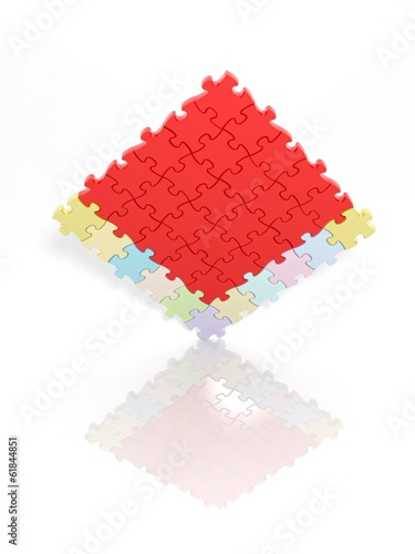 Solved jigsaw puzzle template isolated on white with reflection