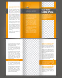Vector empty trifold brochure print template orange design poster