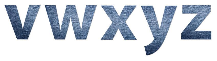 Denim Jeans Texture Alphabet Letters V-Z