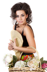 beautiful woman with a flowers studio shoot