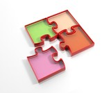 Glass colorful jigsaw puzzle pieces isolated on white background