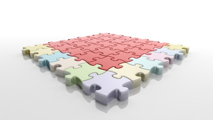 Square solved jigsaw puzzle template isolated on white