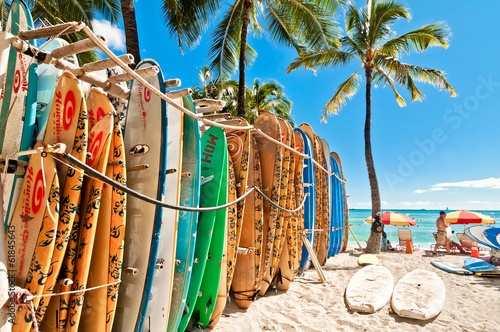 Surfboards in the rack at Waikiki Beach - Honolulu - 61845643