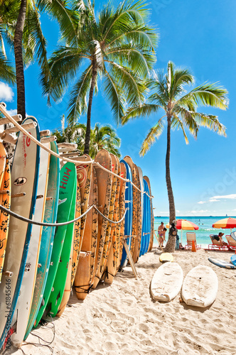 Surfboards in the rack at Waikiki Beach