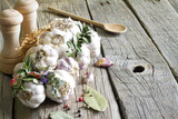 Organic garlic in the kitchen on the wooden table still life