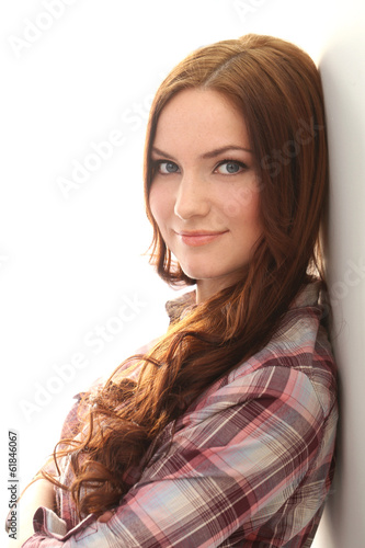 Beautiful girl on a white background