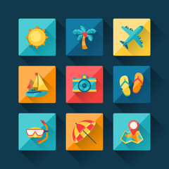 Travel and tourism icon set in flat design style.