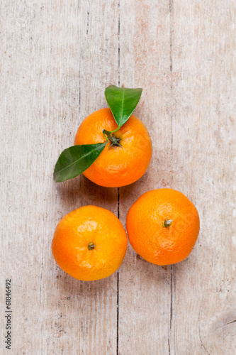 three tangerines with leaves