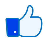 Facebook like thumbs up button symbol icon vector illustration