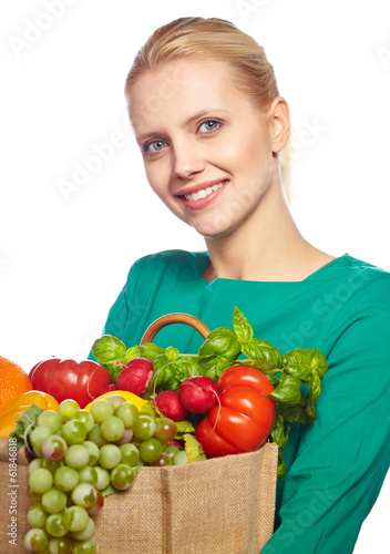Young woman with a grocery shopping bag. Isolated on white backg