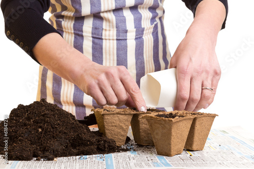 Hands with seeds, soil and pots