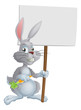 White Easter bunny rabbit sign