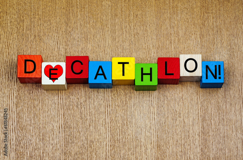 Love for Decathlon, sign series for sport, Olympics, athletics.