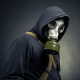 A man in a gas mask