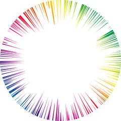 レインボー 集中線 円