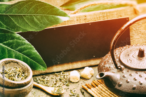 canvas print picture Green tea setting