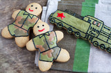 Homemade gingerbread old Soviet locomotive and soldiers