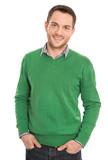 Attraktiver Business Mann freigestellt in grün weiß